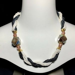 Vintage Mother of Pearl Abalone Statement Necklace